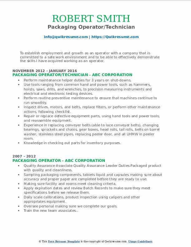 Packaging Operator/Technician Resume Template