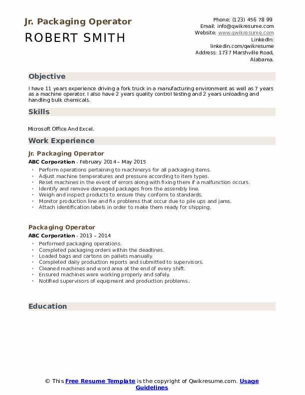Jr. Packaging Operator Resume Template