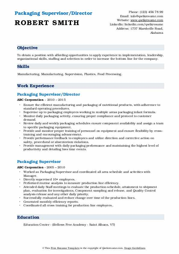 Packaging Supervisor/Director Resume Example