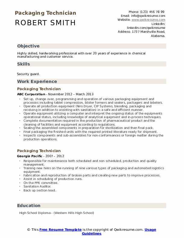 Packaging Technician Resume Model
