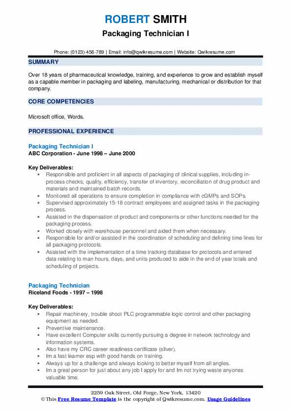 Packaging Technician I Resume Template