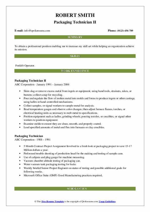 Packaging Technician II Resume Model