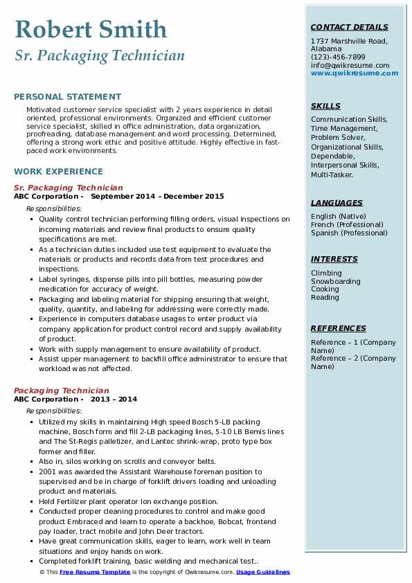 Sr. Packaging Technician  Resume Format