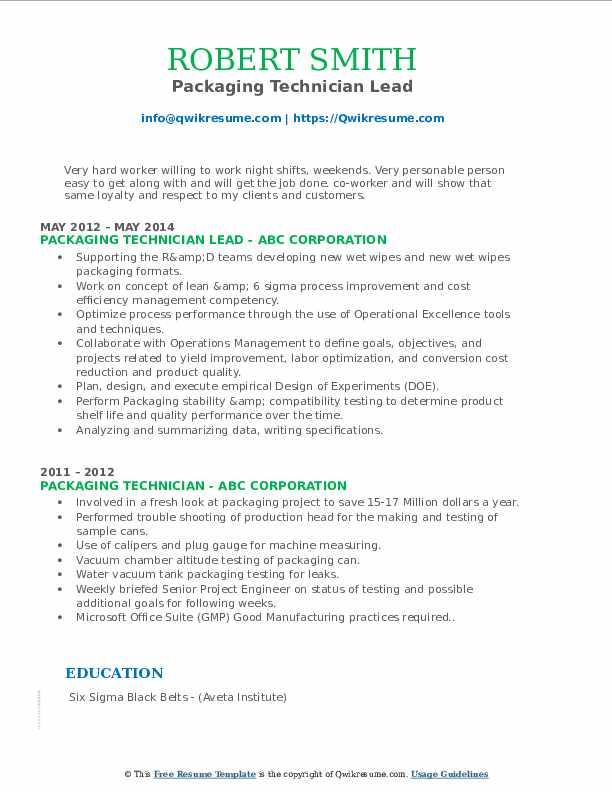 Packaging Technician Lead Resume Model