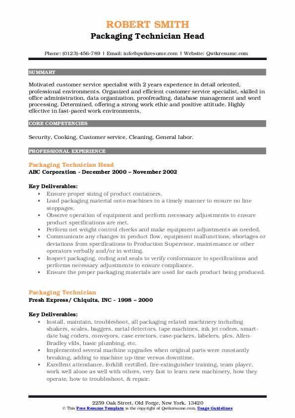 Packaging Technician Head Resume Model