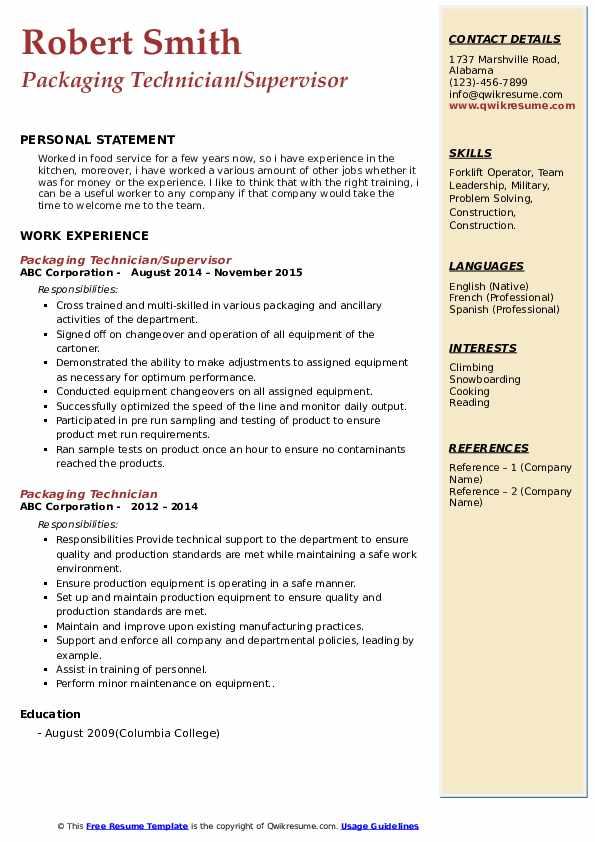 Packaging Technician/Supervisor Resume Format