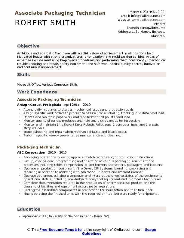 Associate Packaging Technician Resume Format