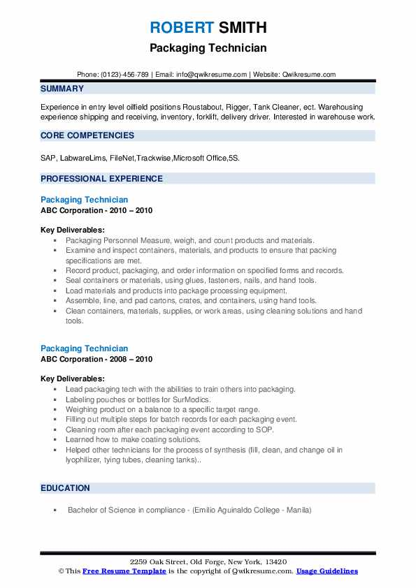 Packaging Technician Resume Samples Qwikresume