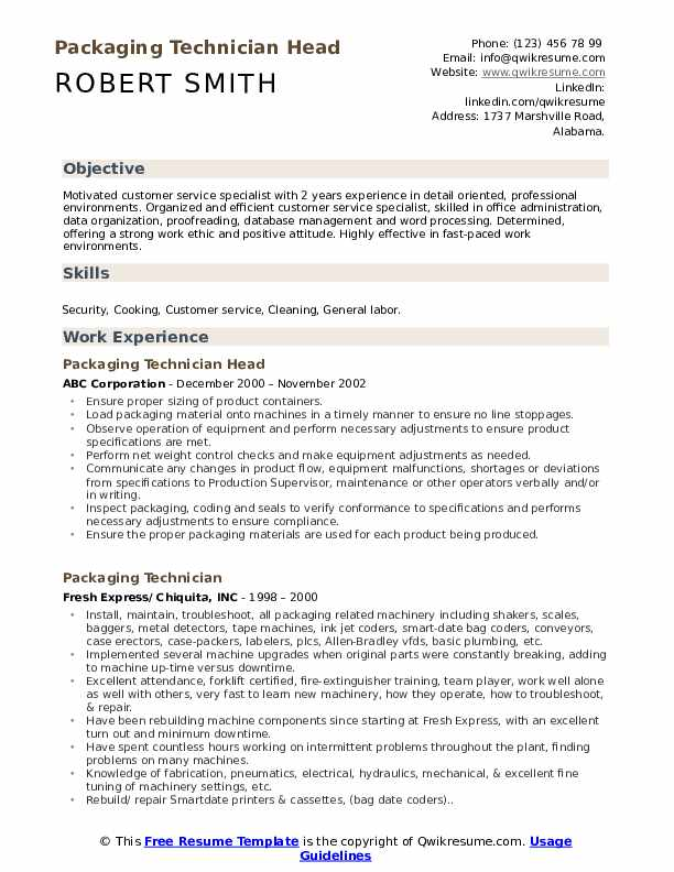 Chief Manufacturing Operator Resume Format