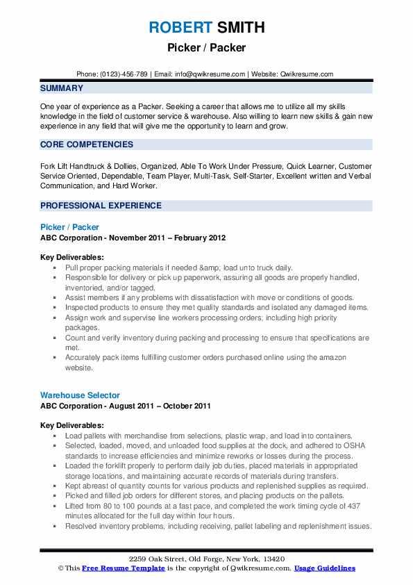 Packer Resume Samples | QwikResume
