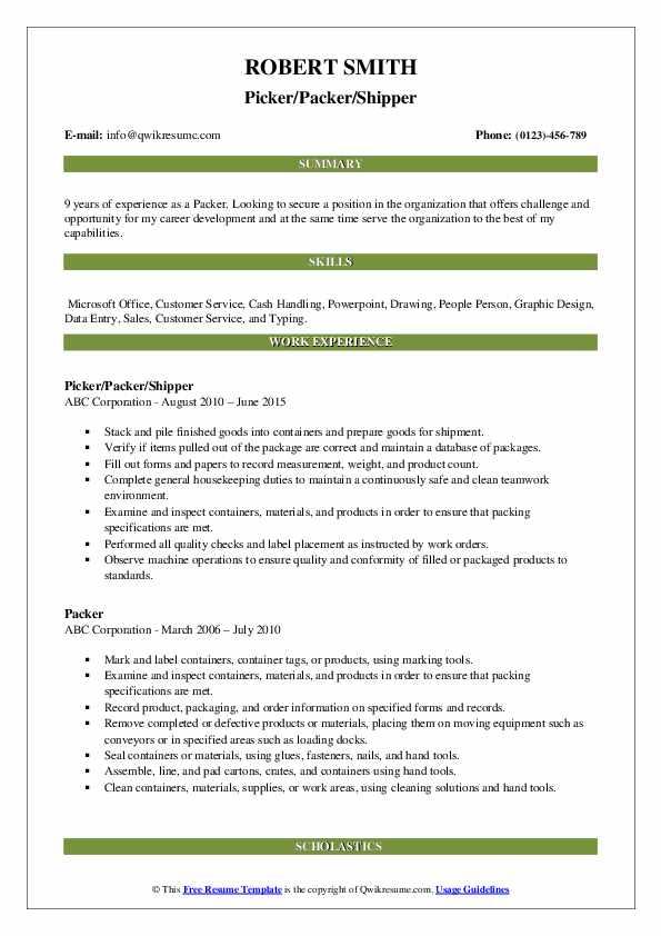 Picker/Packer/Shipper Resume Format