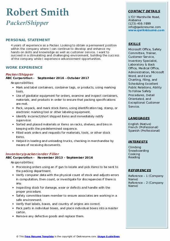 Packer/Shipper Resume Template
