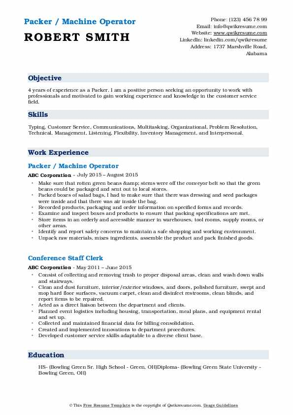 Packer / Machine Operator Resume Example