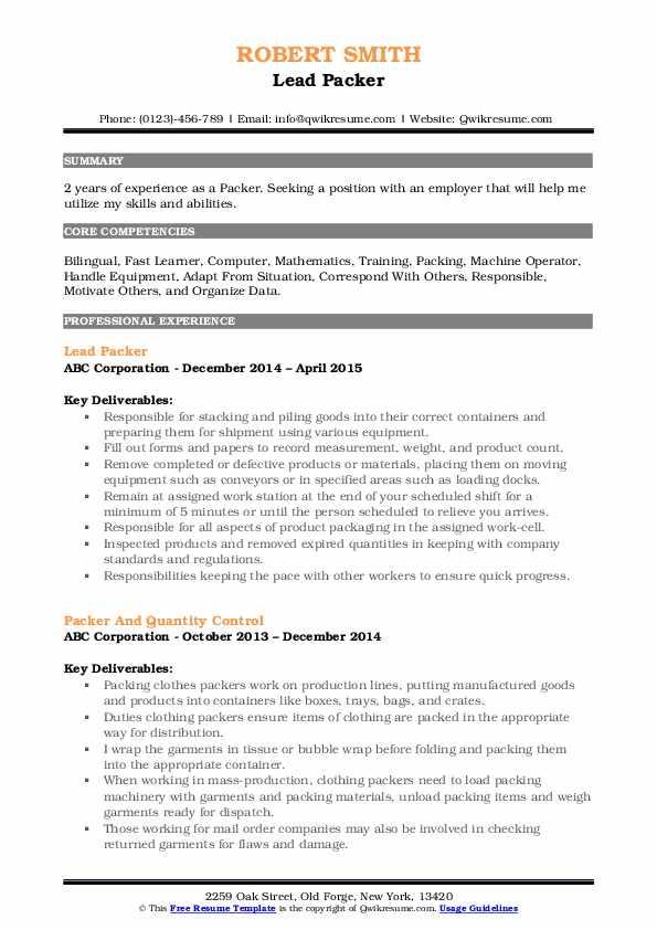 Lead Packer Resume Example
