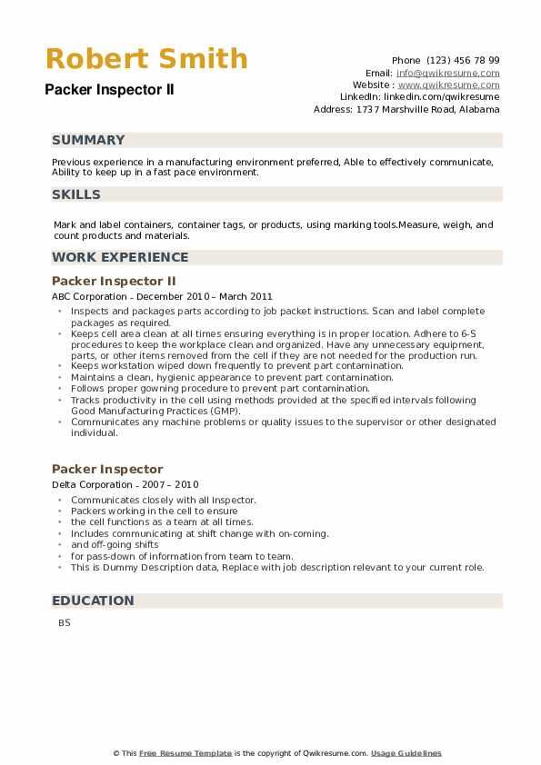 Packer Inspector Resume example