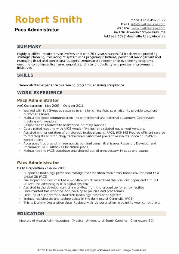 Pacs Administrator Resume example