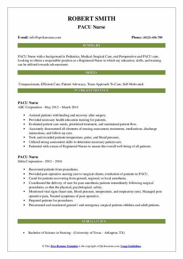 pacu nurse resume samples