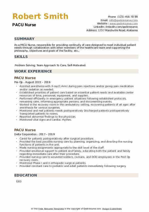 PACU Nurse Resume example