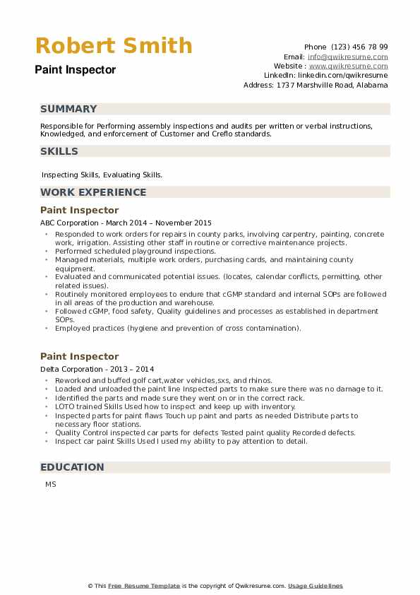 Paint Inspector Resume example