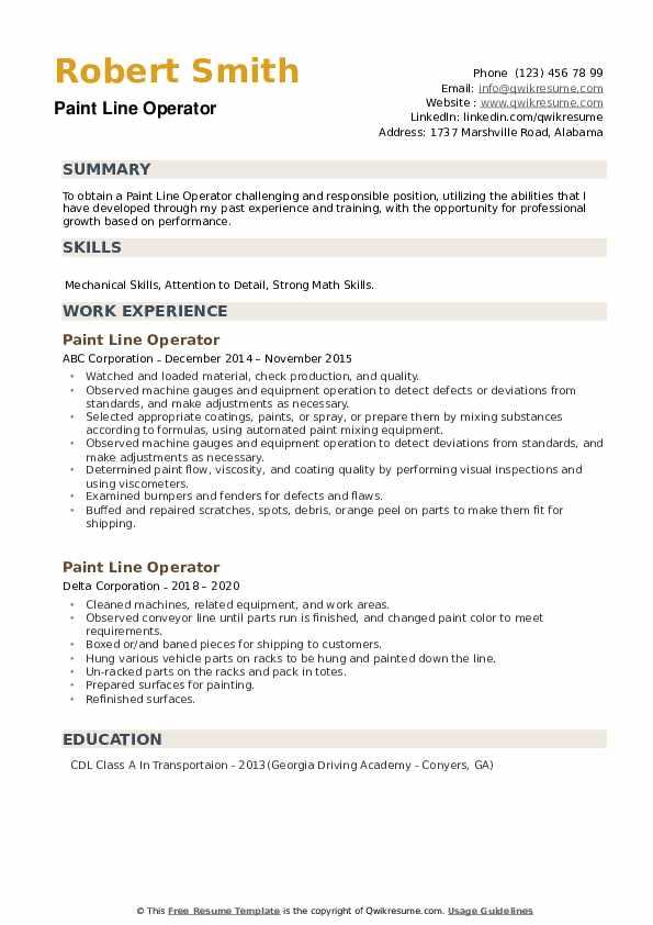 Paint Line Operator Resume example