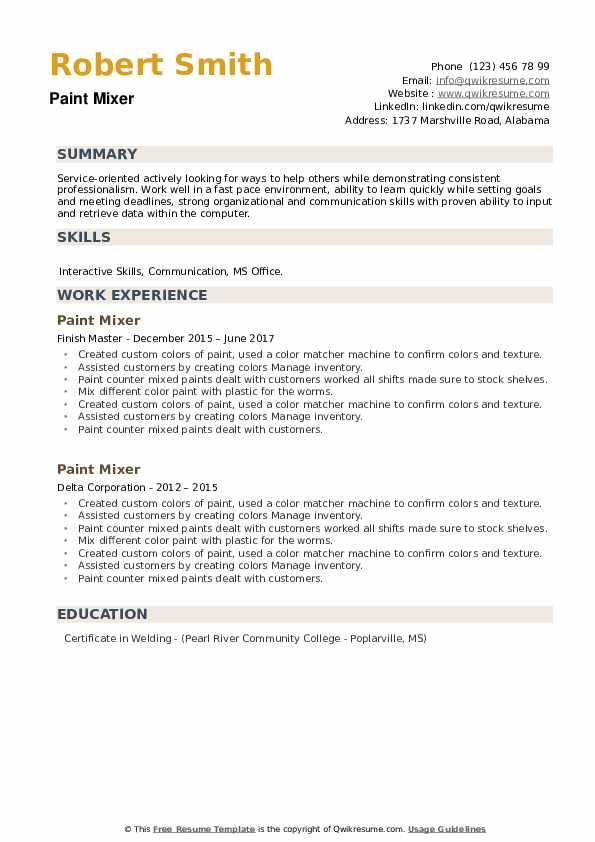 Paint Mixer Resume example