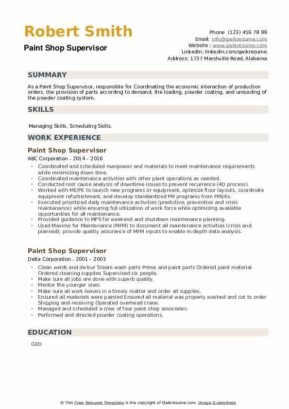 Paint Shop Supervisor Resume example