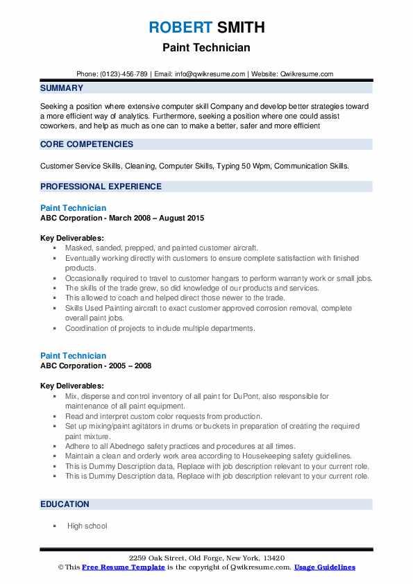 Paint Technician Resume example