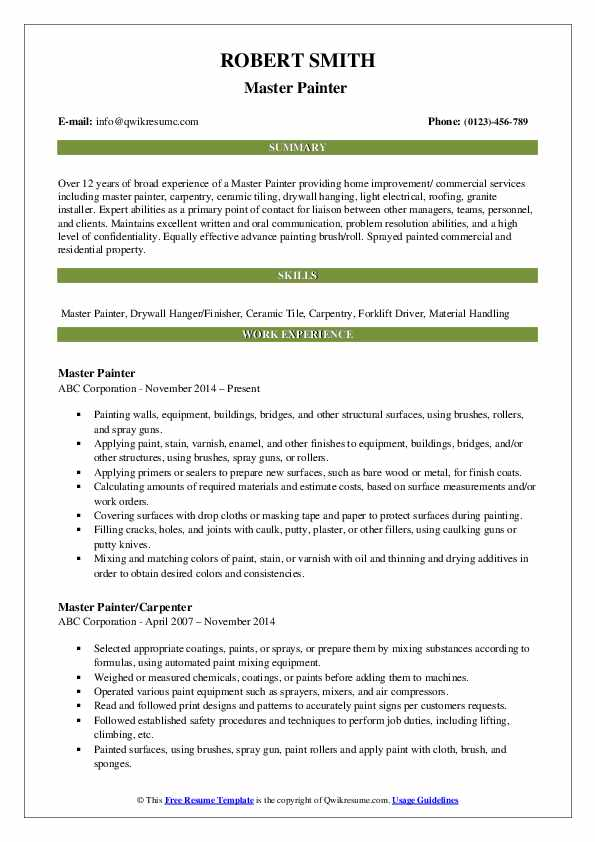 Master Painter  Resume Example