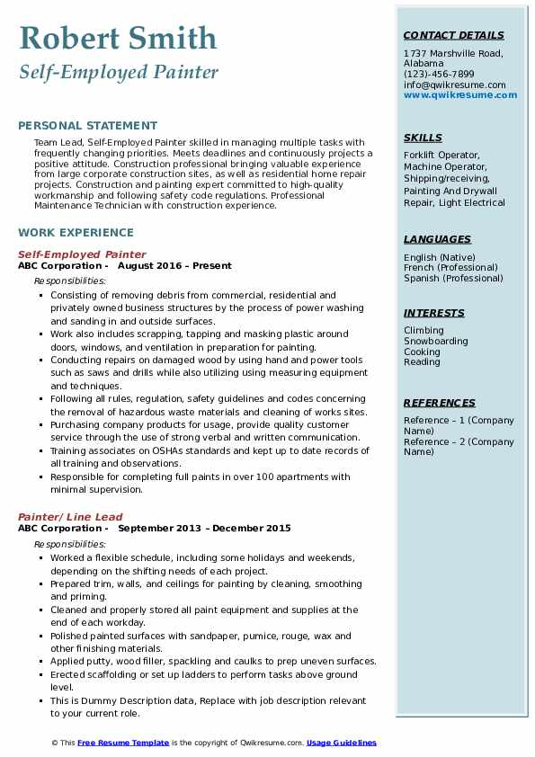 painter resume samples
