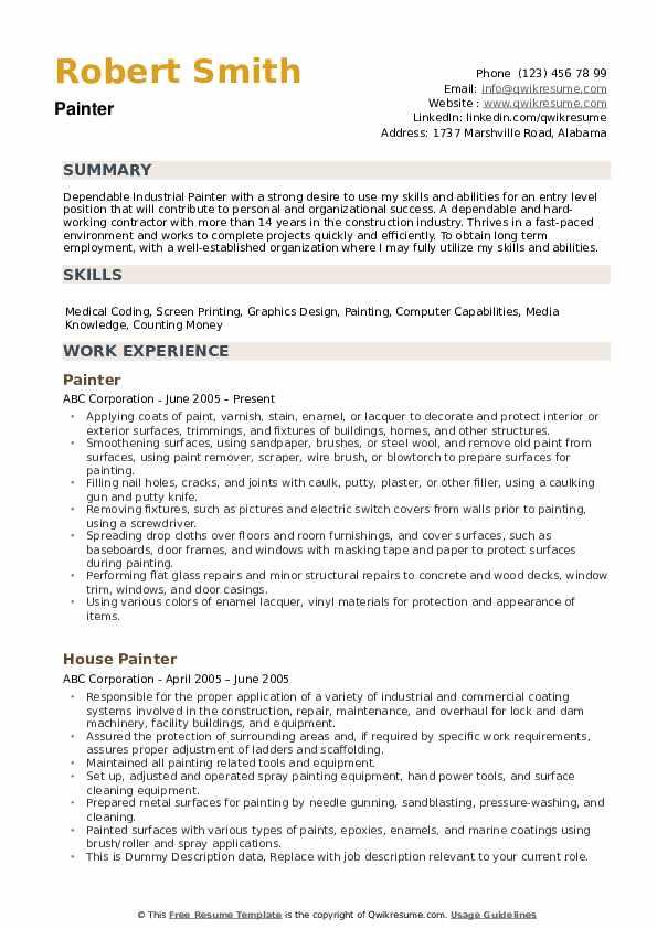 painter resume samples