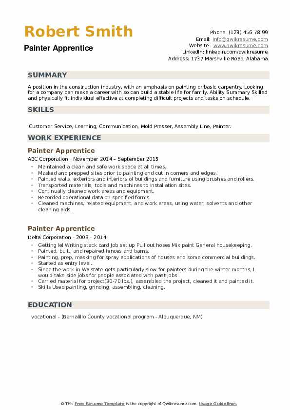 Painter Apprentice Resume example