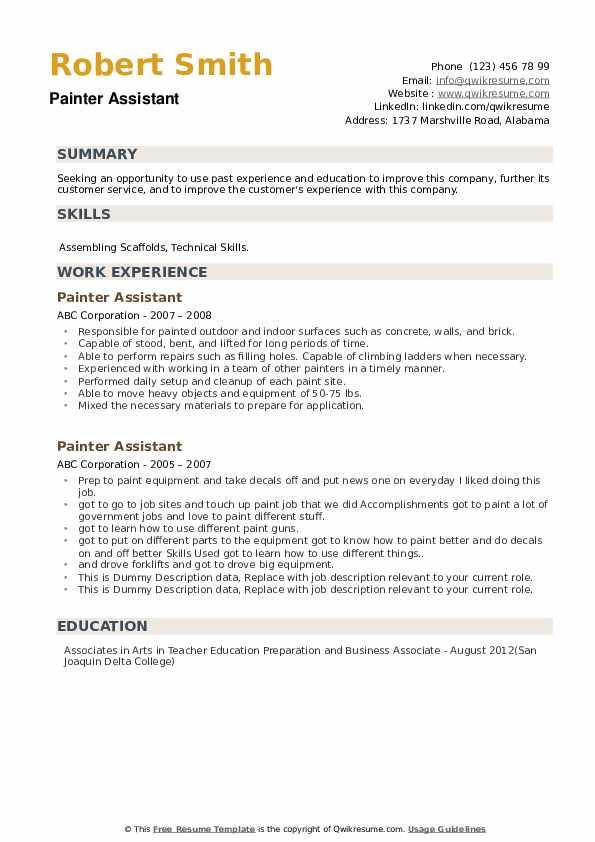 Painter Assistant Resume example