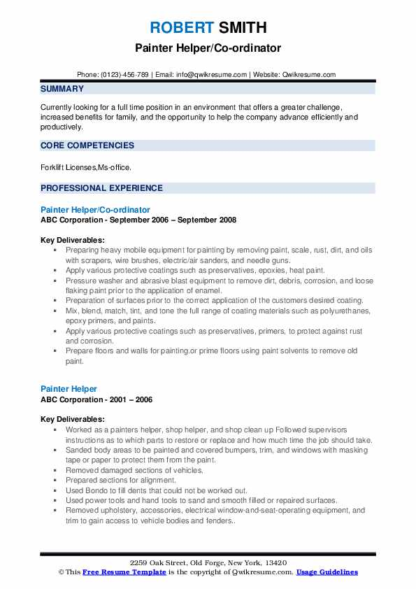 Painter Helper/Co-ordinator Resume Sample