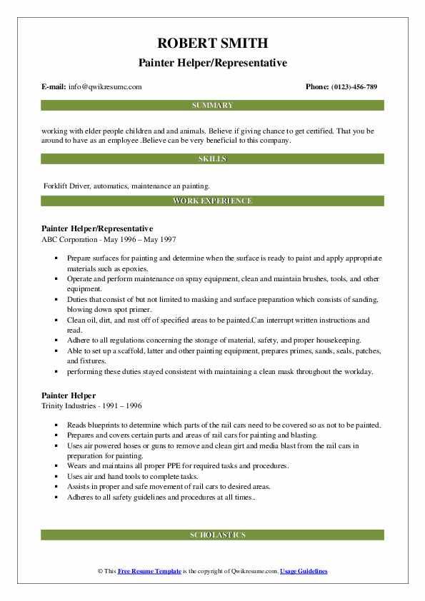 Painter Helper/Representative Resume Template