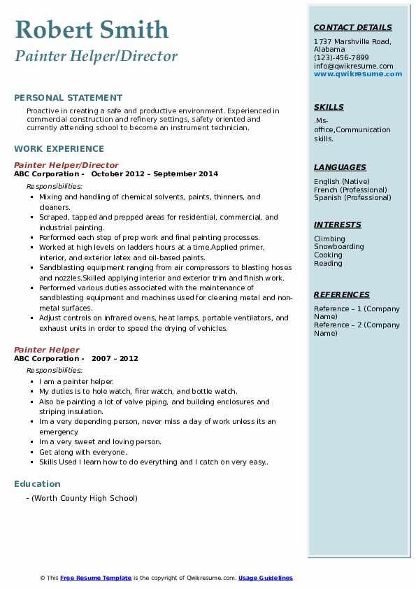 Painter Helper/Director Resume Model