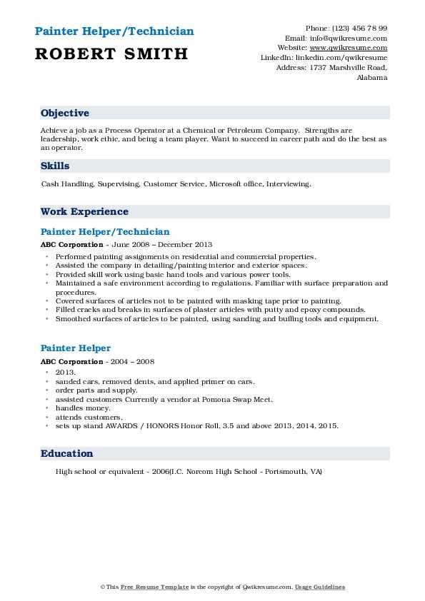 Painter Helper/Technician Resume Template