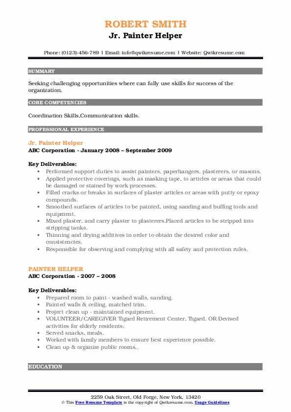 Jr. Painter Helper Resume Format