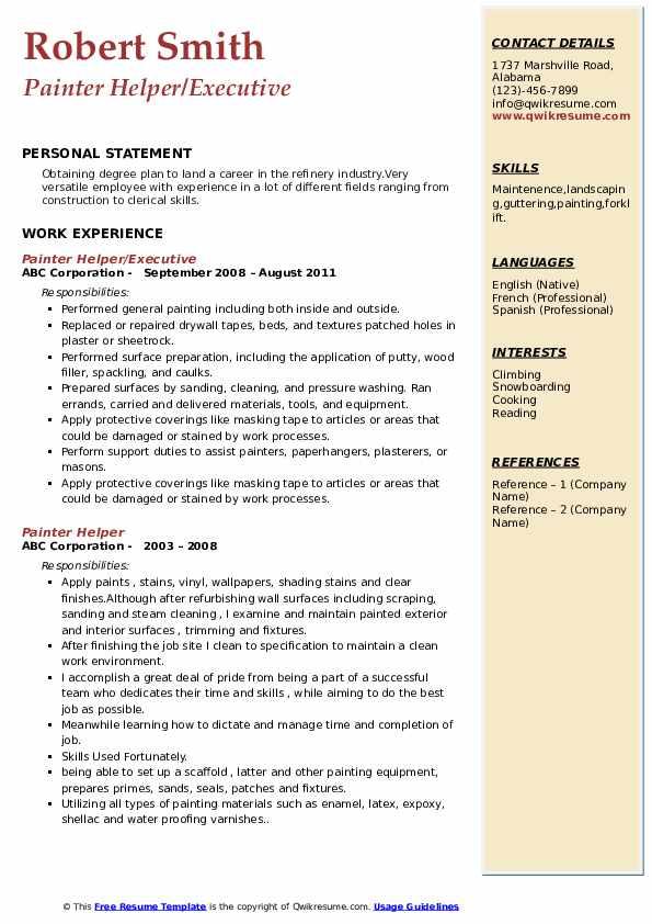 Painter Helper/Executive Resume Model