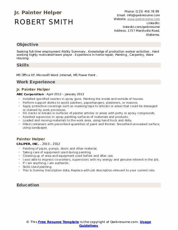 Jr. Painter Helper Resume Example