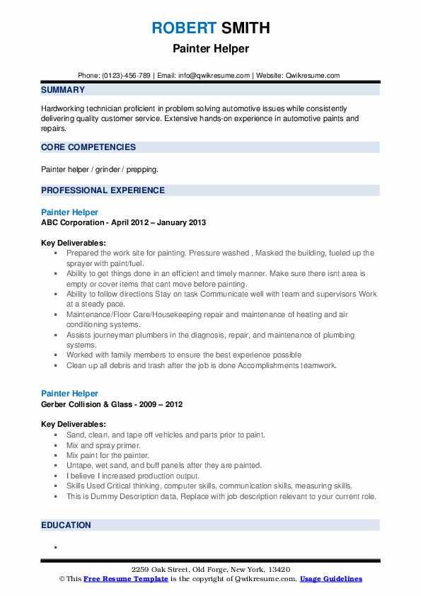 Painter Helper Resume example