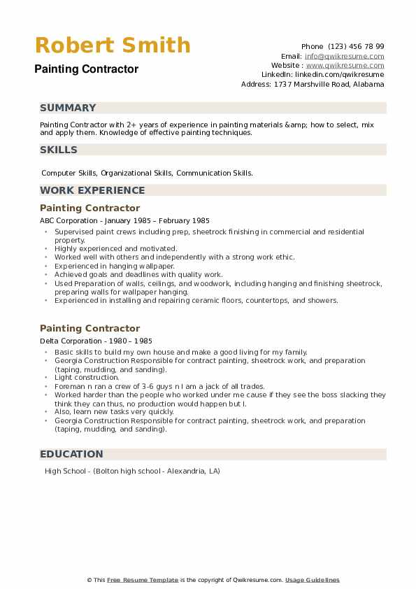 Painting Contractor Resume example
