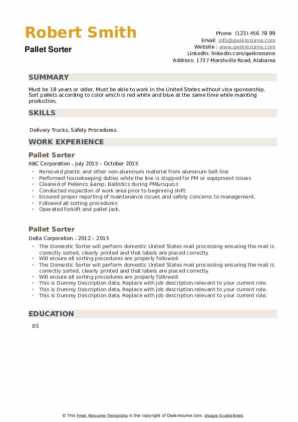 Pallet Sorter Resume example