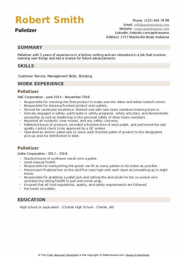 Palletizer Resume example