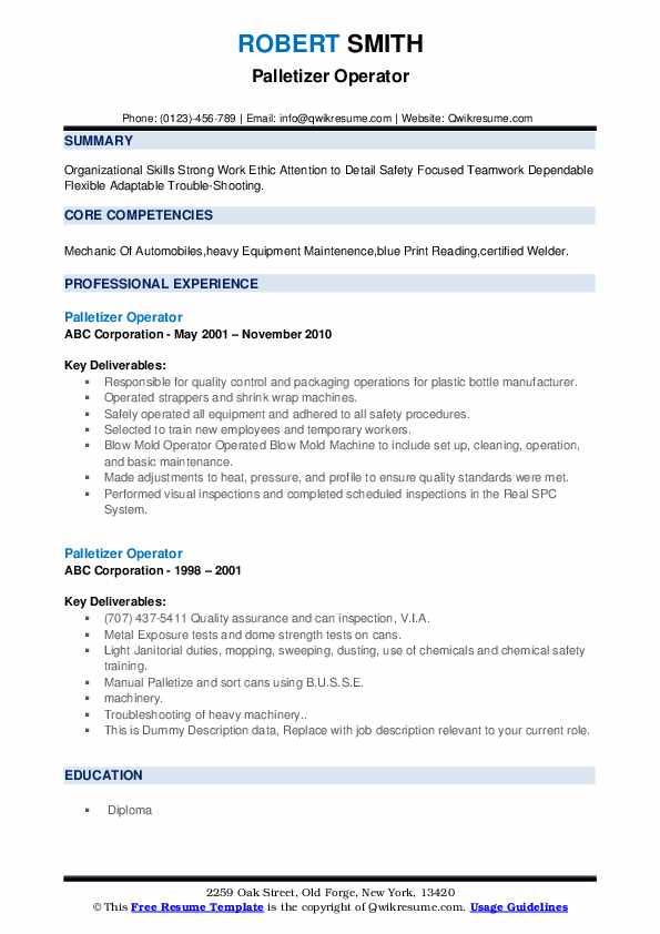 Palletizer Operator Resume example