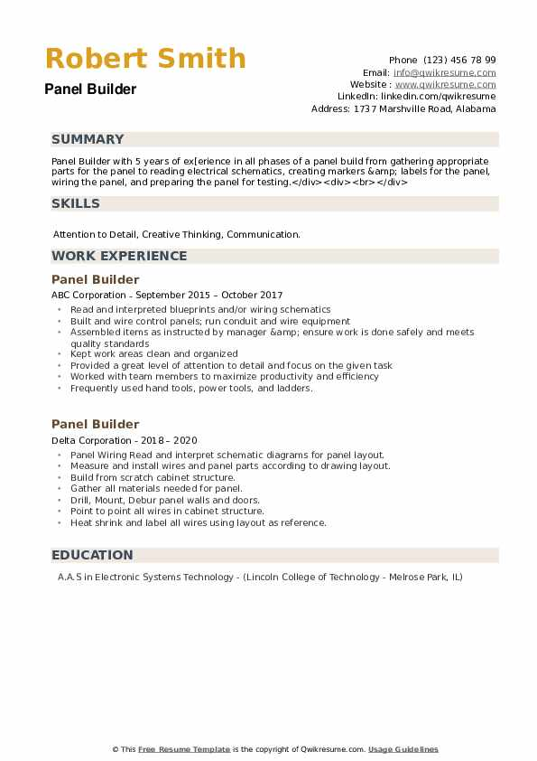 Panel Builder Resume example