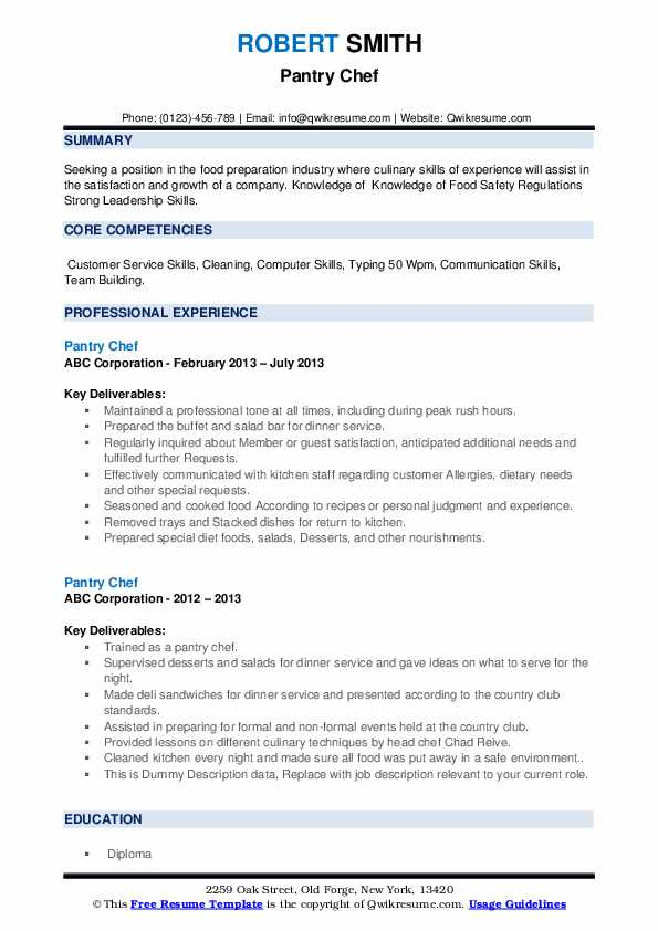 Pantry Chef Resume example