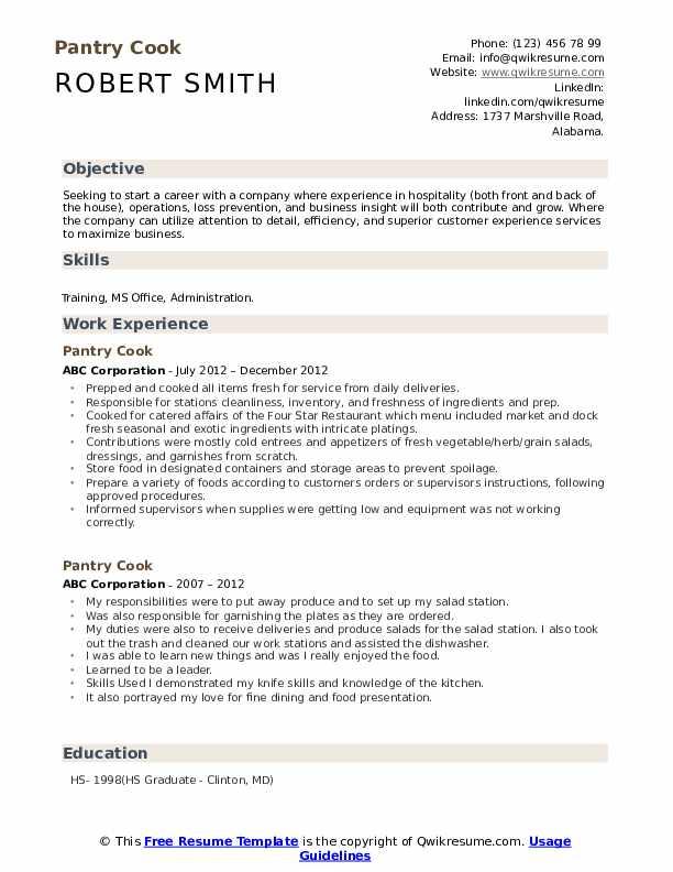 Pantry Cook Resume Model