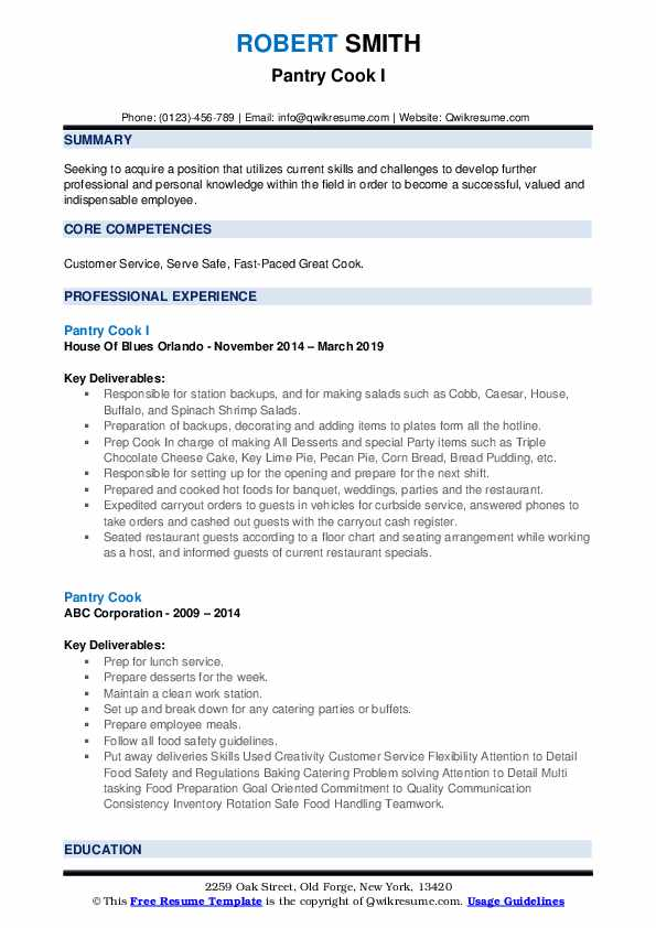 Pantry Cook I Resume Example