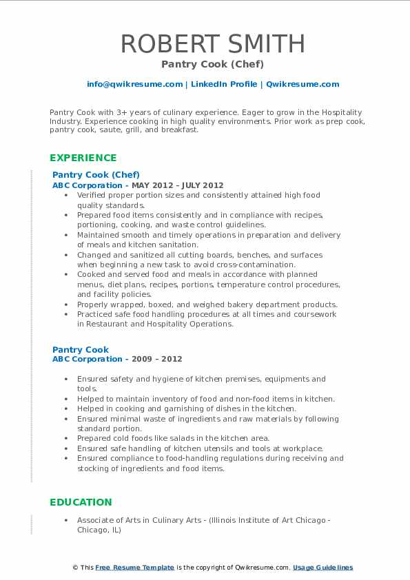 Pantry Cook (Chef) Resume Sample