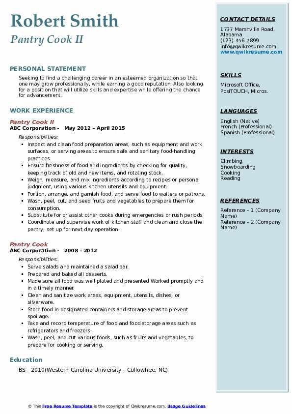 Pantry Cook II Resume Sample